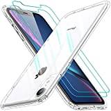 AEDILYS Shockproof Compatible for Apple iPhone XR Case, with [2 X Screen Protector] [15FT Military Grade Drop Protection] [Scratch-Resistant], Slim Non-Slip iPhone XR Phone Case,(6.1'')- Clear
