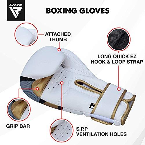 RDX Maya Hide Gel Sparring Leather Boxing Gloves, Golden, 14oz