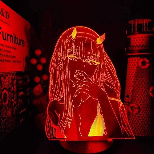 WENJZJ Luz de Noche LED 3D Zero Two 002 Darling Anime Lámpara Led Illusion Nightlights Iluminación Darling in The FRANXX Lampara para niños y niñas de 16 Colores