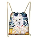 WELLFLYHOM Trendy Westie Galaxy Gym Bag Drawstring Backpack for Women Young Teen Girls String Bag for School Traveling Hiking Shopping Cinch Sackpack Bag Heavy Duty