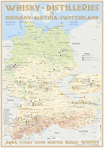 Whisky Distilleries Germany, Austria and Switzerland - Poster 70x100cm Standard Edition: Landkarte der Whisky-Destillerien in Deutschland, Österreich und Schweiz (incl. Liechtenstein)