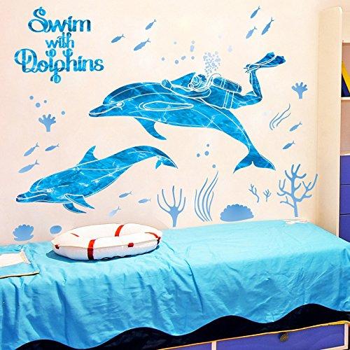 WLYUE DIY Wall Stickers Decal,Sticker Aufkleber Tauchen und Delphin Schlafzimmer Wohnzimmer abnehmbare abnehmbare wasserdichte Wandaufkleber 100 * 80cm