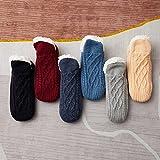 YWLE Chaussettes thermiques antidérapantes pour homme et femme - Chaussettes épaisses et chaudes avec grips - Chaussons antidérapants pour maison - Rouge vin - 39-40