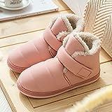 B/H Andar por casa,Zapatillas de algodón con tacón Antideslizante y Zapatillas de Pelusa-Polvo de Piel_35-36,Pantuflas Cómodas