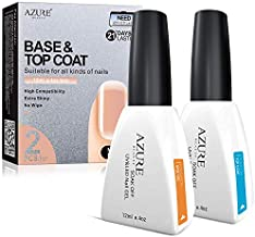 (2x12ml) Base Coat No Wipe Top Coat Set for UV LED Gel Nail Polish LED Nail Lamp 0.4 Ounce Big Capacity by AZUREBEAUTY