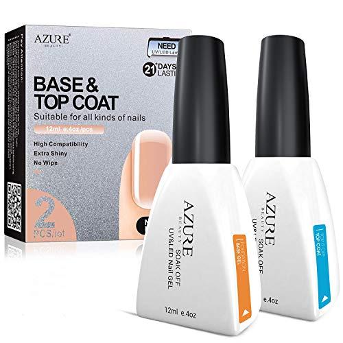 Base Coat No Wipe Top Coat Set for UV LED Gel Nail Polish LED Nail Lamp 0.4 Ounce Big Capacity...