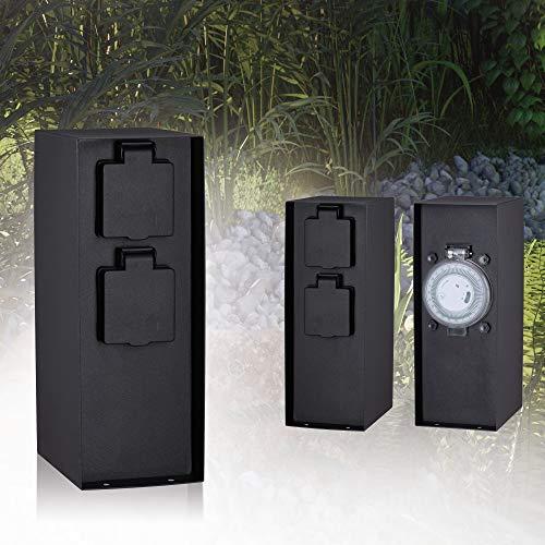 Paulmann Garden Outlet 94314 Outdoor stopcontactzuil Rio 2-voudig max. 3,650 Watt timer buitenverlichting antraciet tuinverlichting roestvrij staal besturing