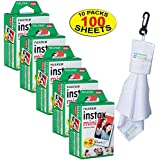 Fujifilm 5 Twin-Packs of 10 Instax Mini Film (100-Sheets) | Designed for Mini 8 / Mini 9 Camera | Develops and Prints Photos Instantly | -Bonus- Free Lens Cleaner Microfiber Cloth