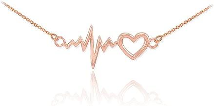14k Rose Gold Lifeline Pulse Heartbeat Charm Open Heart Pendant Necklace