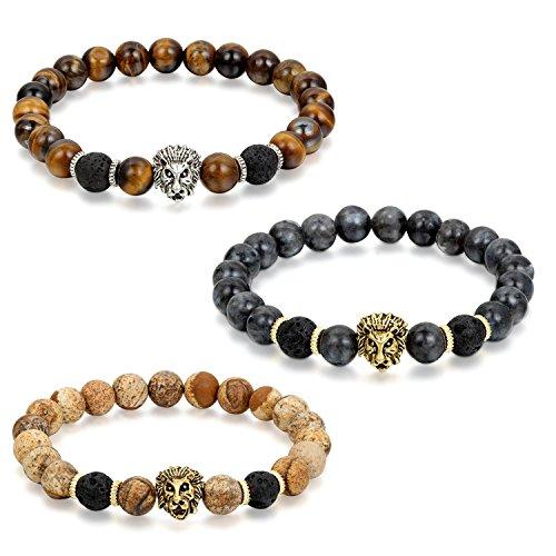 Flongo Gioielli 3 Piezas Clásica pulsera de piedras braccialetto di energia, Regolabile braccialetto buddista con perline tessuto, Bracciale Portafortuna maschio donna leone 3 en imballare Offerta Speciale