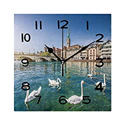 ALUONI 8 Inch Square Face Silent Wall Clock Historic City of Zurich with River Limmat Switzerland Unique Contemporary Home and Office Decor No115965