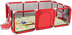 Playpen Kids Safety Activity Center With Pad Baby Play Yard Portable Lightweight Indoor For Children s 190x129x66cm  Color Red