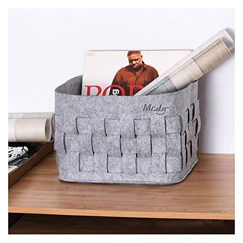 CJCJ-LOVE Bedroom Dirty Clothes Storage Bag, Large Felt Woven Laundry Basket for Bathroom, Living Room Organizer Hamper Bin with Handles, Gray,44 * 30 * 26cm