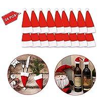 La confezione di decorazioni natalizie contiene un totale di 24 mini cappello. Dimensioni singolo: 8 cm x 14 cm x 1 cm. ♫ Set di 24 mini cappello di Babbo Natale, decorazione natalizia. Decorazione da tavolo natalizia durevole e piacevole al tatto, l...