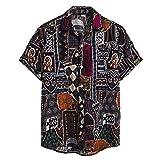 Camisa vintage para hombre, cárdigan de manga corta, estilo hawaiano, para la playa, con cuello alto, para hombre, vintage, para verano, informal, cuello redondo, camisa para hombre