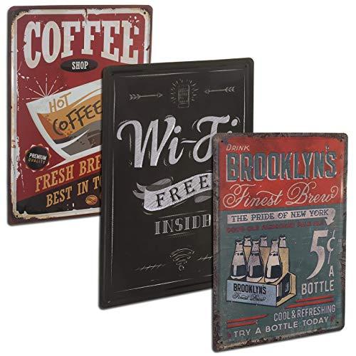Chapas Decorativas Vintage con Relieve y Autocolgables para pared de Cocina, Comedor, Bar, Cafetería, Restaurante, Cervecería. Set de 3 Carteles Retro de Bebidas. Placas Decorativas Metálicas 20x30 cm