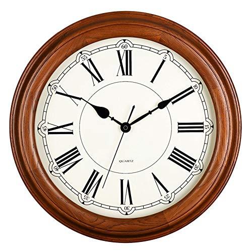 reloj de pared Digital Madera Maciza Europeo Retro Sin tictac Operado a batería Decoración Vintage Salón Decoración Números Romanos 16 Pulgadas Grande *Mudo