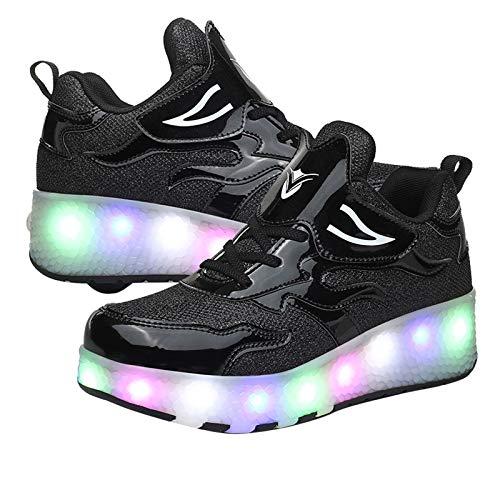 RDJSHOP Zapatos de Patinaje sobre Ruedas con Luces LED Zapatos de Patinaje LED con Carga USB para Niños Zapatos de Skate Técnicos para Niños y Niñas,Black-35