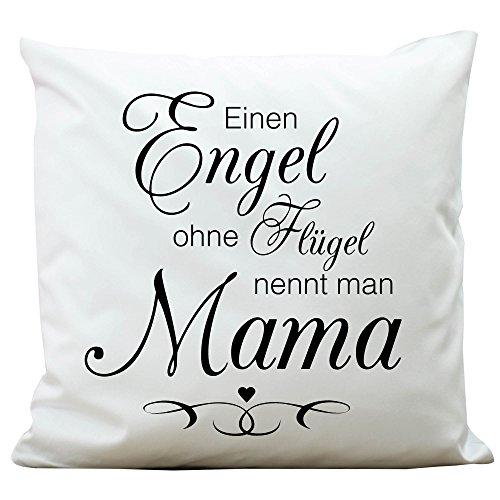 Wandtattoo-Loft Bedrucktes Kissen Engel ohne Flügel nennt Man Mama - Aus 100% Polyester 40 x 40 cm