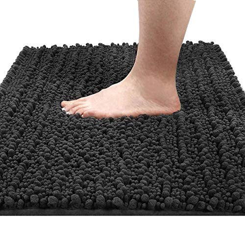 Yimobra Original Luxury Shaggy Bath Mat, 24 x 17 Inches, Soft and Cozy, Super Absorbent Water, Non-Slip, Machine-Washable, Thick Modern for Bathroom Bedroom, Dark Gray