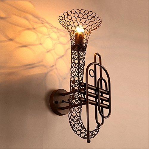 YU-K eenvoudige vintage woonkamer eetkamer saxofoon wandlamp, bar cafe industriële wind wandlamp, plafondlamp wandlamp