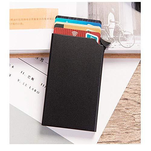 HYLXF Brieftasche Smart Brieftasche dünne ID-Karte Box Diebstahlsicherung neutral automatische Solid Metal Bank Kreditkarteninhaber Business Mini BlackX-55