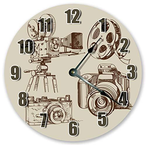 Reloj de pared redondo de 30,5 cm, funciona con pilas, con números árabes, cámara vintage y reloj de película, decoración del hogar