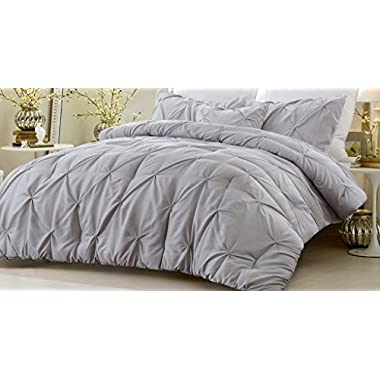 NEW - 4 Piece Pinch Pleat Comforter Set Gray Full/Queen 90 Inches x 96 Inches Fade Resistant All Season Hypoallergenic Super Soft Machine Washable Style 1054 by Web Linens Inc
