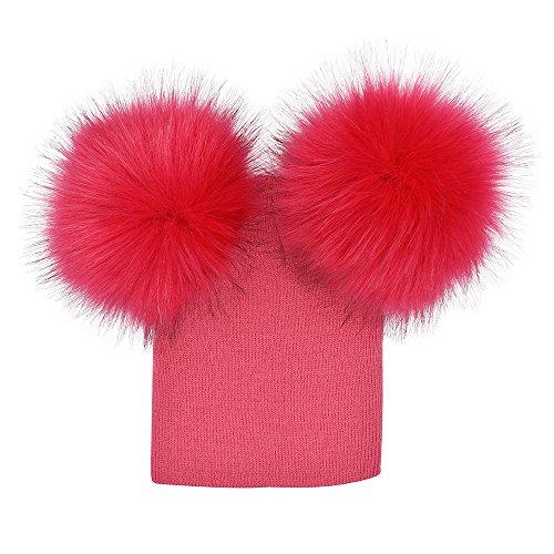 uBabamama_Hat Strickmütze für Babys, Mädchen, Jungen, Webpelz, mit Bommel, warme Mütze Einheitsgröße hot pink