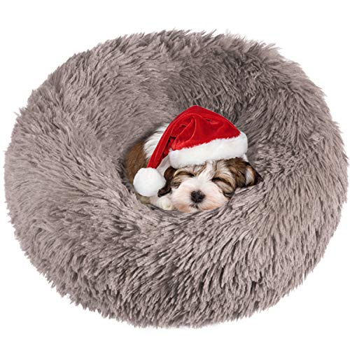 Yissone Cama Redonda para Mascotas Cojín de Donut de Felpa Cálido Invierno Perrera Cachorro de Gato Suave Abrazador con Fondo Impermeable Antideslizante para Perros Pequeños (Beige