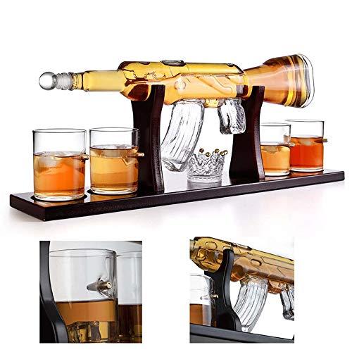1000ML AK-47 Pistola Decanter, Whisky Diciembre Agua Cristal Set, con 4 Bala Whisky Vasos