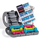 York Fitness Halteres caoutchouc Pro-Style, bleu, vert, lila,  2x1 kg, 2x1,5 kg, 2x2,5 kg (10 kg)