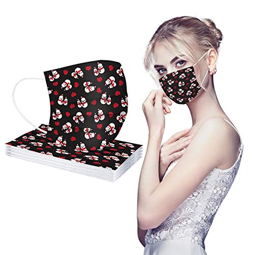 Christmas Adult_Disposable_Face_Mask, Printed 3 Ply Protection Cover Dust Women Men Protective Breathable Cover for Work School Christmas Party