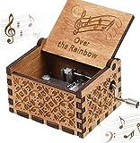 CDIYTOOL Caja de música de madera clásica clásica grabada a mano, con manivela tallada tallada para el día de los niños, niños, niñas, amigos