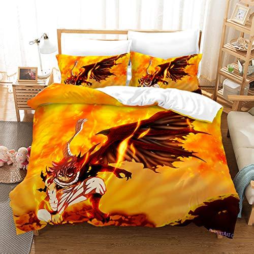 Jiaxiin Fairy Tail - Etherious • Natsu • Dragneel Flame Wings Juego de Funda nórdica para Ropa de Cama 3 Piezas Funda de edredón Funda de Almohada de algodón (EU-Double)