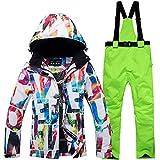 Yeah-hhi Traje de esquí para mujer con babero y chaqueta aislada, impermeable, resistente al viento, duradero, para invierno, esquí, camping, 7,L
