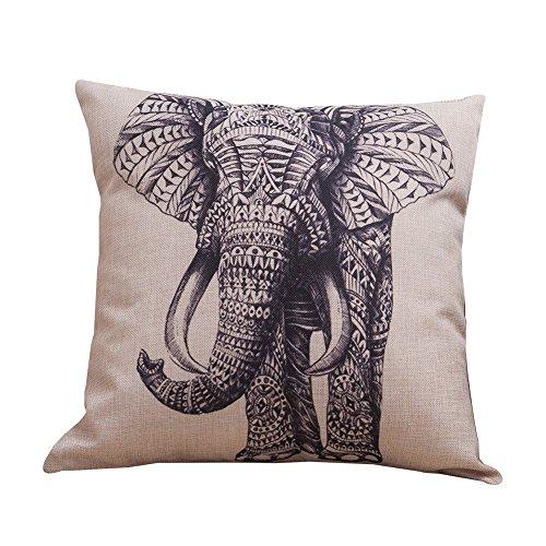 Milnut - Funda de cojín, diseño de elefante de lino, cuadrada, para sofá, dormitorio, coche, oficina, con cremallera invisible (45 x 45 cm), Elephant 2, 45×45cm