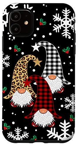 iPhone 11 Gnomes Buffalo Plaid Leopard Christmas Tree Santa Xmas Gifts Case