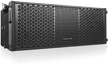 "Sound Town ZETHUS Series 2 x 8"" Line Array Loudspeaker System with Dual Titanium Compression Drivers, Full Range/Bi-amp Switchable, Black (ZETHUS-208BV2))"