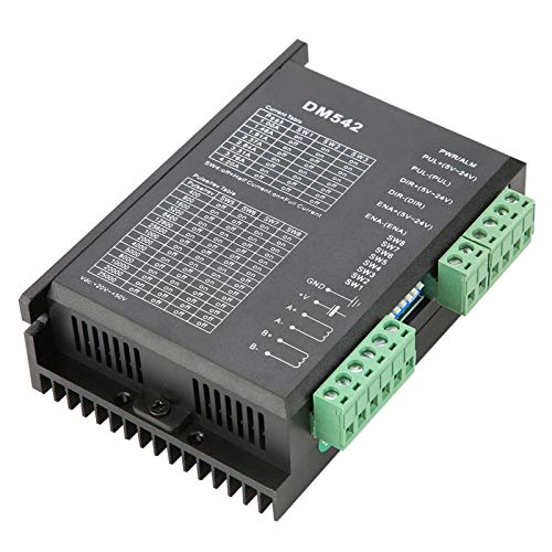 Yctze Stepper Motor Driver DM542 2-phase Stepper Motor Driver Low Noise Small Portable Stepper Motor Controller C PWM Driver Output Fit For 42/57 Stepper Motor