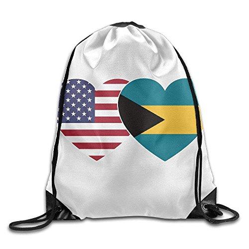 bikini bag Bahamas USA Flag Twin Heart Gym Drawstring Backpack Unisex Portable Sack Bags