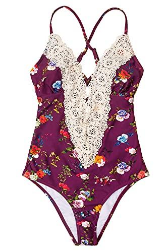 CUPSHE Fashion Women's Ladies Vintage Lace Bikini Sets Beach Swimwear Bathing Suit, S Grape