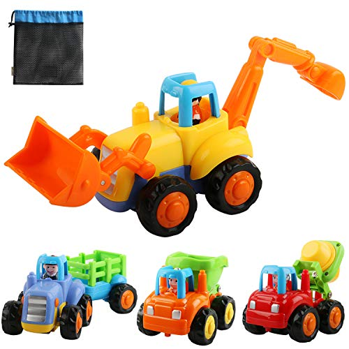 Buy OKPOW Friction Powered Cars, Push and Go Construction Vehicles Toys, 4 PCS Early Educational Tod...
