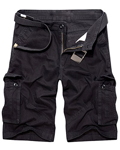 Men's Casual Multi-Pocket Cargo Shorts, Summer Cotton Outdoor Wear Dungarees Black Size 40