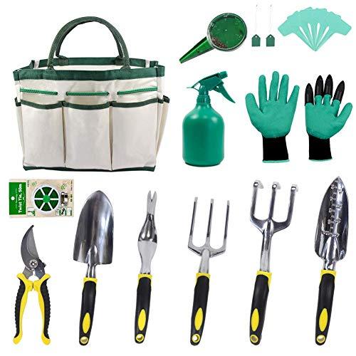 KEAYOO Gartenwerkzeug Set- 13 in 1 Set mit Rostfrei Gartengräte, Tasche, Gartenhandschuhe, Seed Tasche und Sämann, Plant Labels Oma