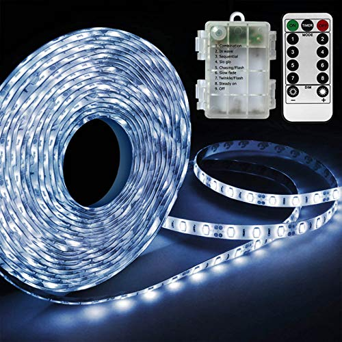 White LED Strip Lights Battery Powered, Waterproof 8 Mode Remote LED Light Strip for Riding at Night Party Camping Tent Hurricane Emergency Halloween Parade Costume Window Bedroom Decor(9.8FT/90 Led)
