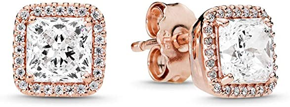 PANDORA Jewelry - Square Sparkle Halo Stud Earrings for Women in 14K Gold and PANDORA Rose with Clear Cubic Zirconia