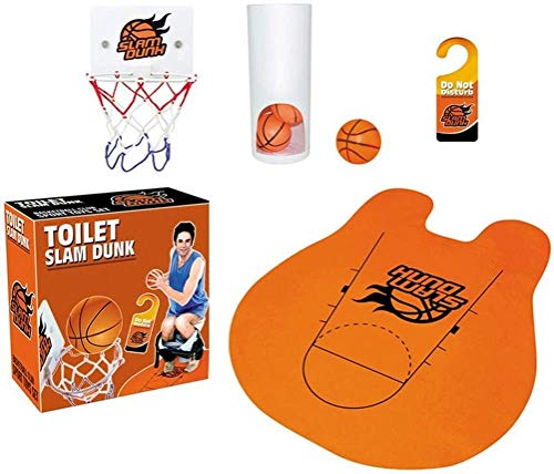 Lustige Toiletten Basketball Set mit Basketballkorb 3 Bällen und Matten WC Spiel