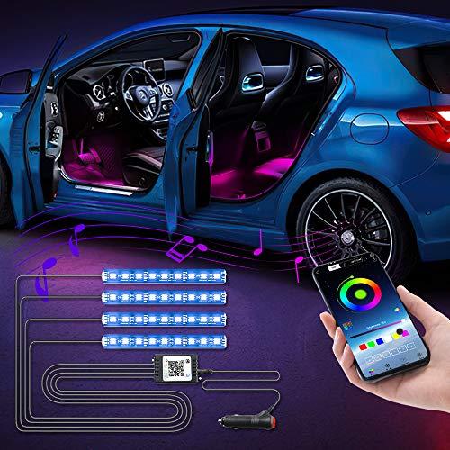 LED-Auto-Lichter für den Innenbereich, 4 Stück, 36 LEDs, Gleichstrom 12 V, mehrfarbig, für Smartphone, iOS, Android, App, Bluetooth-Steuerung, Auto-Innenbeleuchtung, RGB dekorative Atmosphäre