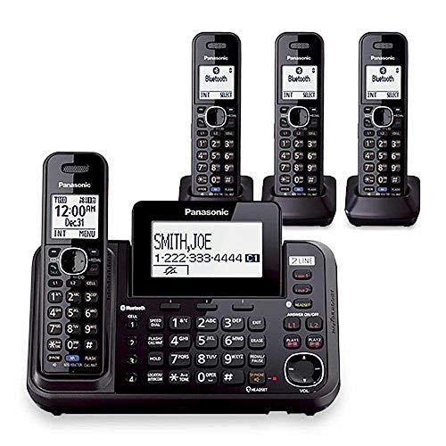 Panasonic KX-TG9542B + (2) KX-TGA950B Dect 6.0 2-Line Cordless Phone w/ Link-to-Cell & 2-Handsets + 2-Pack 2 Line Handset For KX-TG954X